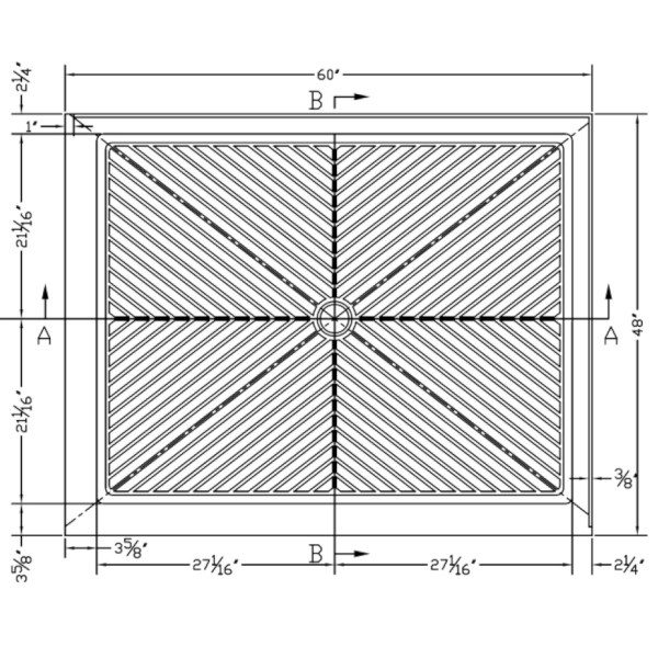"""Shower Pan - 48"""" x 60"""" - Double Threshold - Base Right"""