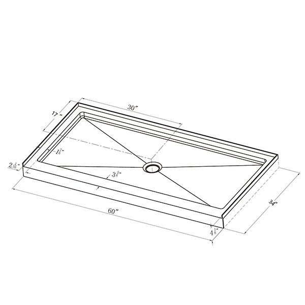 "Shower Pan - Single Threshold - 34"" x 60"""
