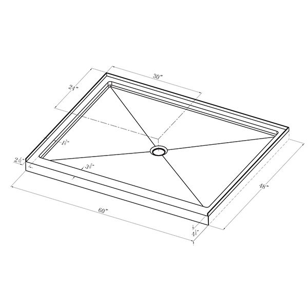 "Shower Pan - Single Threshold - 48"" x 60"""