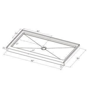 "Shower Pan - Single Threshold - 30"" x 60"""